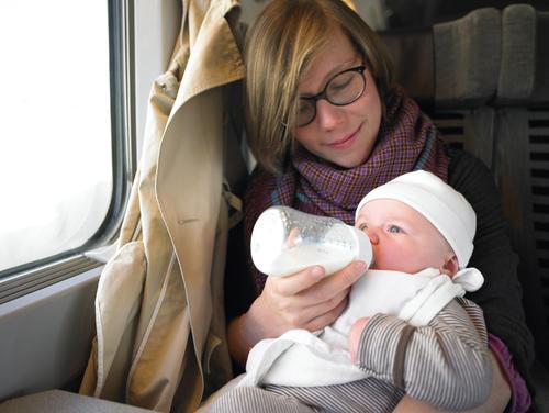 avec bébé en train