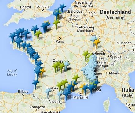 Carte destinations
